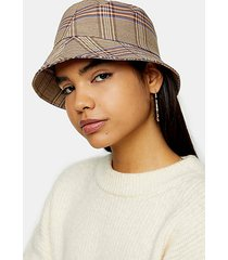 brown check bucket hat - brown