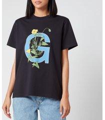 ganni women's logo flower t-shirt - black - l