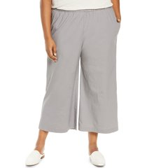 eileen fisher stretch organic cotton crop wide leg pants, size 1x in zinc at nordstrom