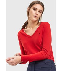 sweater  tommy hilfiger rojo - calce regular