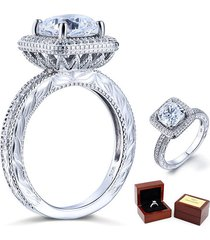 3 ct cushion cut lab diamond vintage sterling 925 silver wedding engagement ring