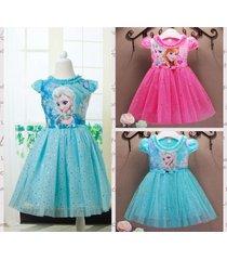frozen disney princess girl elsa/anna cosplay costume birthday party fancy dress