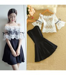 pf272 sexy lace cover & open shoulder min-dress , size s-xl, white/black