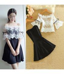 pf272 sexy lace cover & open shoulder min-dress , size s-xl, white/black