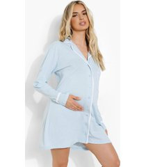 zwangerschap jersey nachtjapon met knopen, pale blue
