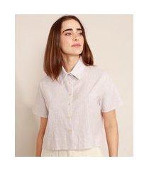camisa cropped de linho listrada manga curta mindset lilás