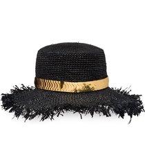 prada crocheted raffia hat - black