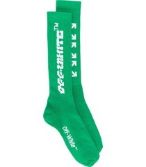 off-white disrupted font mid length socks - green
