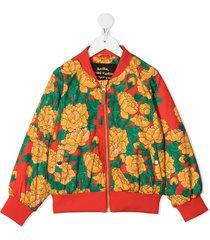 mini rodini floral-print bomber jacket - red