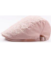 berretto confortevole da donna con cappuccio in cotone ricamato e cappello da sole regolabile