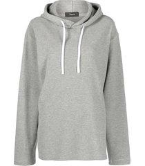 theory longline vents hoodie - grey