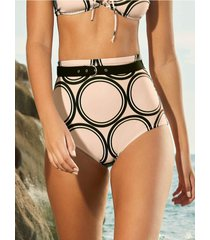 chamela 25565 - panty de baño talle alto para mujer - vestido de baño estampado geométrico
