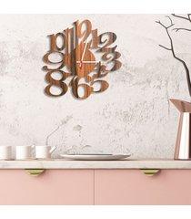 relógio de parede decorativo premium números vazados amadeirado