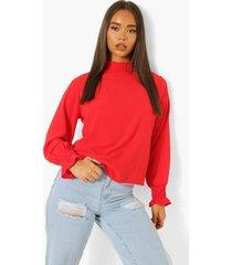 doorschijnende blouse met hoge hals, red