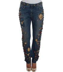 crystal roses heart embellished jeans