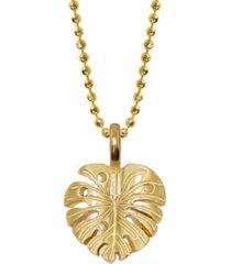 14k yellow gold alex woo mini x wellness monstera leaf pendant