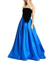 mac duggal women's strapless bow velvet ball gown - black royal - size 0