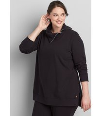 lane bryant women's livi french terry split-neck tunic 14/16 black
