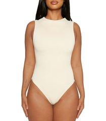 women's naked wardrobe jersey sleeveless bodysuit, size medium - ivory