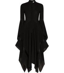 jw anderson neck tie flared dress - black