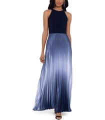betsy & adam petite pleated ombre halter gown