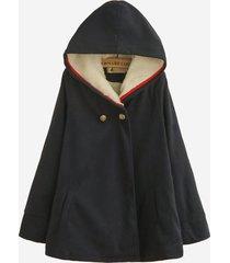 cappotto a maniche lunghe con cappuccio a maniche lunghe in tinta unita
