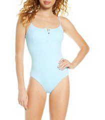 melissa odabash calabasas ribbed one-piece swimsuit, size 12 in celeste ribbed at nordstrom