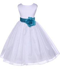 white organza flower girl dress pageant wedding bridal recital bridesmaid 841s