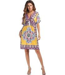 vestidos mujer vestido de playa con cuello en v -amarillo