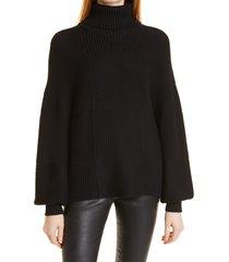 women's staud benny turtleneck sweater, size x-small - black