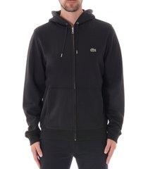 lacoste zip-up hoodie - black sh8549