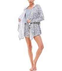 roudelain hooded cardigan, tank top & shorts 3pc loungewear set