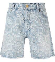 casablanca embroidered denim shorts