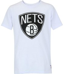 camiseta brooklyn nets big logo branca - nba