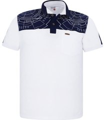 camiseta tipo polo audax con bolsillo blanca