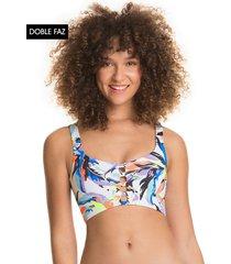 traje de baño top blanco-multicolor maaji swimwear aventura lula