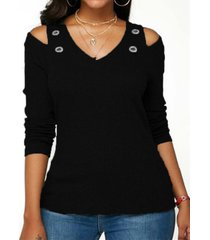 camiseta básica negra de manga larga con hombros descubiertos