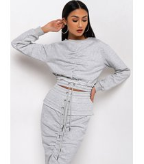 akira cozy luxe ruched front long sleeve sweatshirt