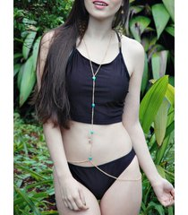 stylish women's strappy solid color criss-cross backless bikini set