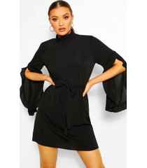 boho high neck wide shift dress, black