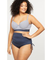lane bryant women's striped longline swim bikini top with balconette bra - strappy back 46ddd seersucker stripe