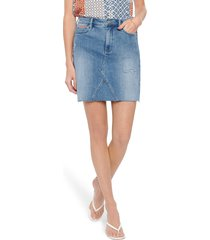 women's nydj high waist cutoff denim a-line skirt, size 18 - blue