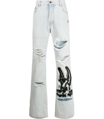 off-white bunny-print bleached-effect jeans - blue