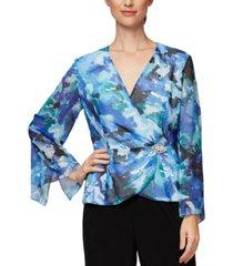 alex evenings floral embellished blouse