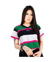 camiseta cropped prison feminina retro channels