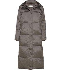 zayraiw long coat gevoerde lange jas grijs inwear