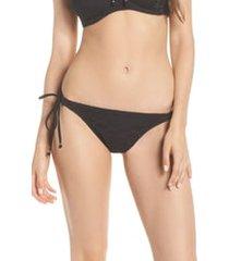 freya 'sundance rio' tie sides bikini bottoms, size small in black at nordstrom