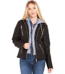 chaqueta wados m/l caoucha negro - calce regular