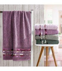 kit 4 toalhas de toalha rosto corpo jacquard fio retorcido orquidea - bene casa