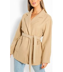 oversized slouchy wool look belted coat, stone